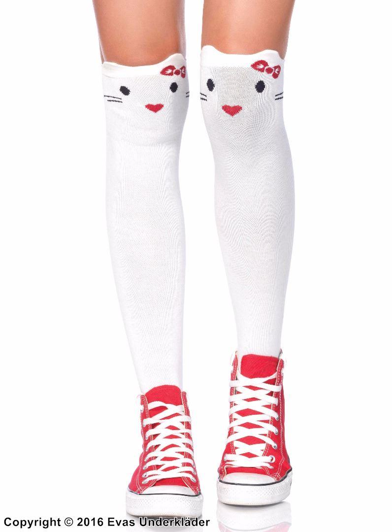 Söta overknee-strumpor med katter